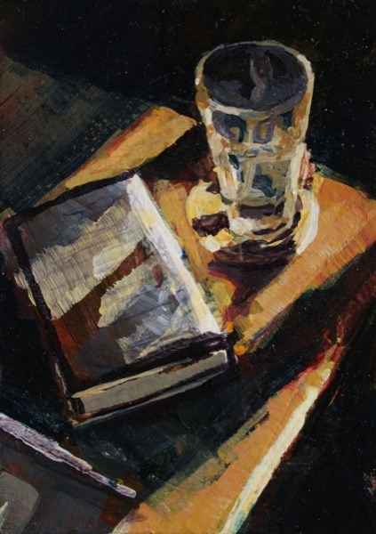 """Books and water"" original fine art by Chris Breier"