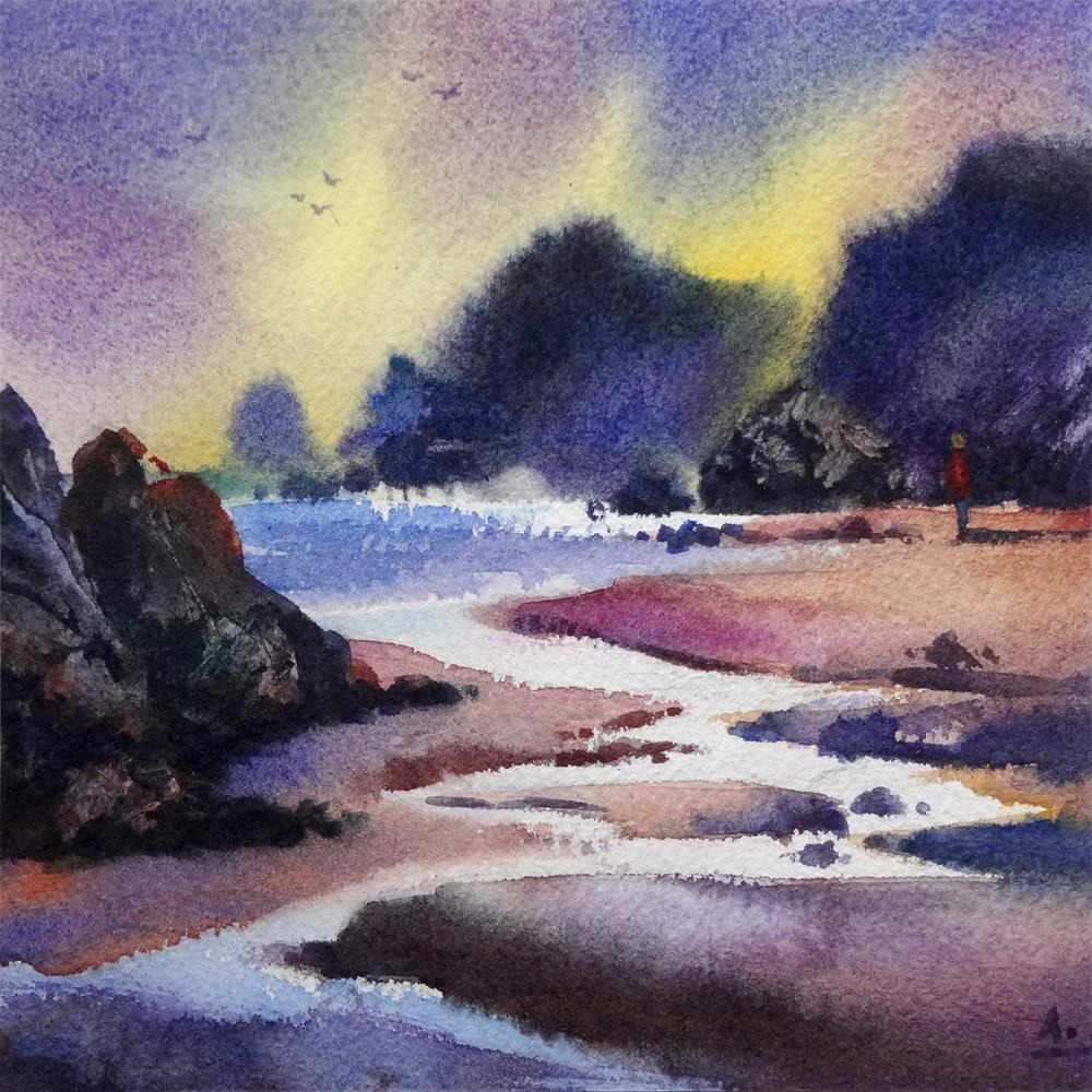 """Low Tide, Linda Mar Beach"" original fine art by Arena Shawn"