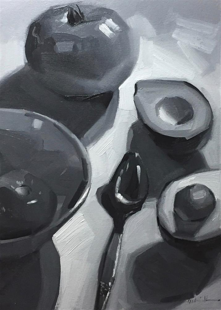 """Avocado and Tomatoes in Black and White - and More about Notan"" original fine art by Sarah Sedwick"