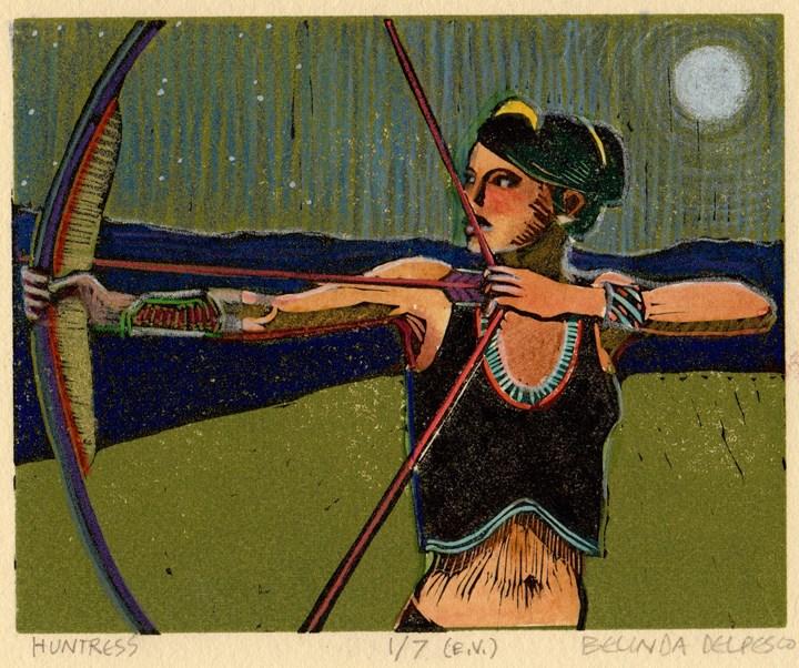 """""""Linocut: Huntress (& a printmaking book giveaway!)"""" original fine art by Belinda Del Pesco"""
