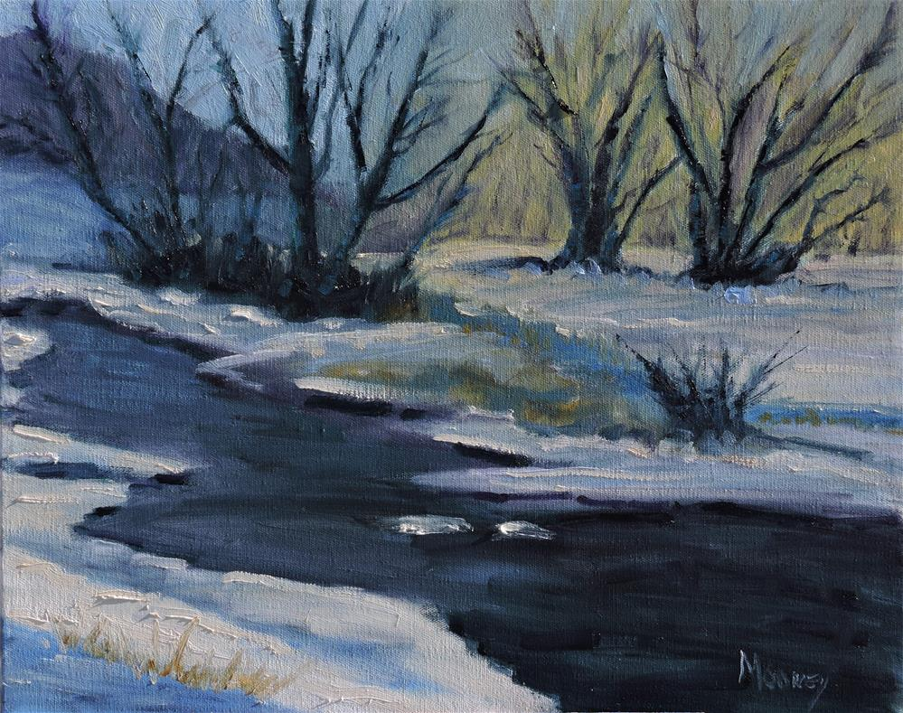 """Winter Pond"" original fine art by Linda mooney"