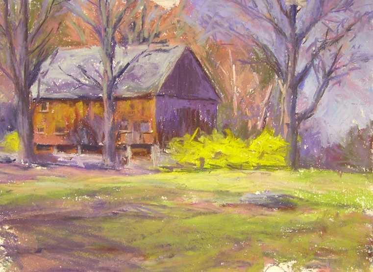 """Barn and Forsythia"" original fine art by Katie Wilson"