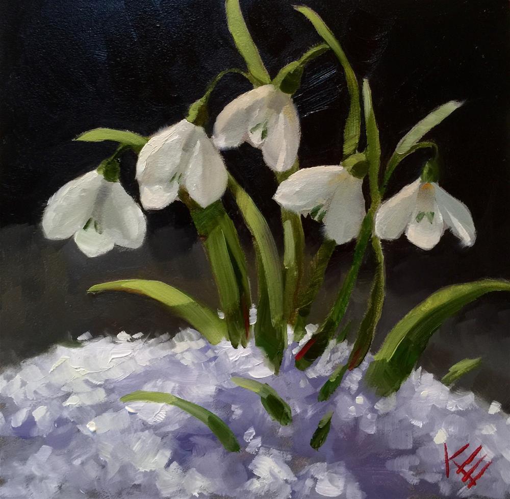 """Snow Drops"" original fine art by Krista Eaton"