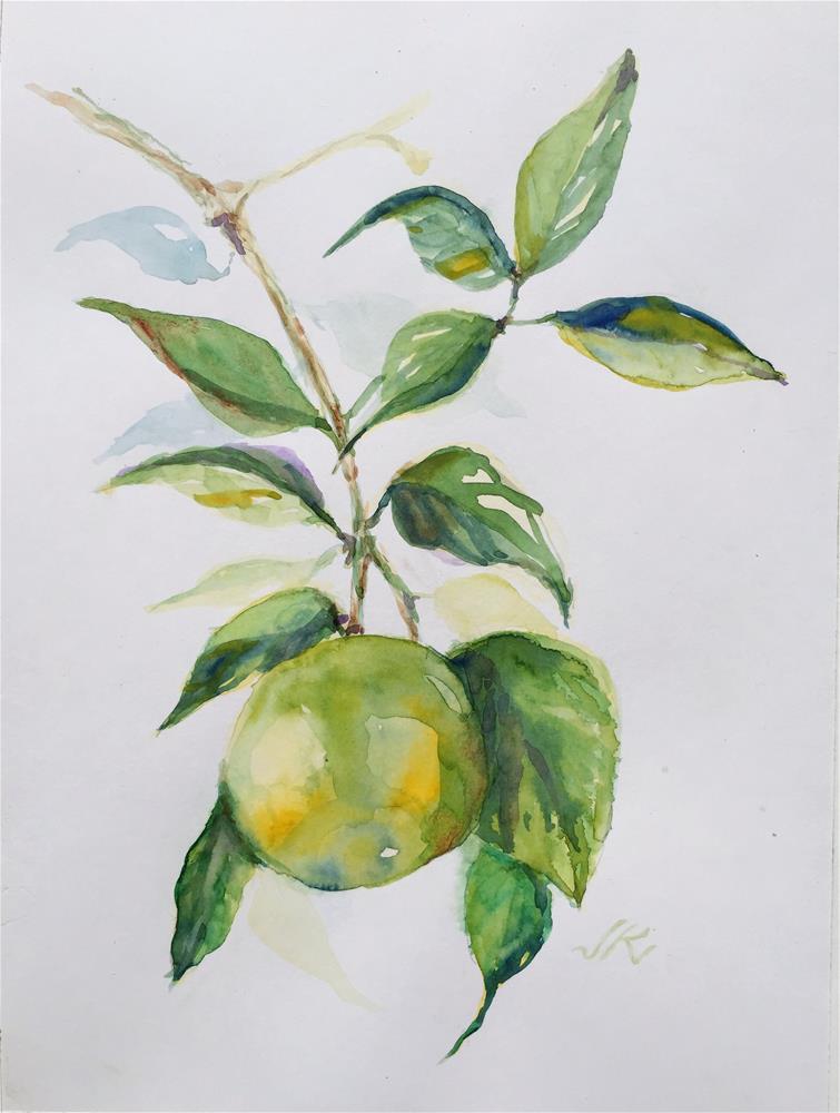 """Green Orange - November"" original fine art by Jean Krueger"
