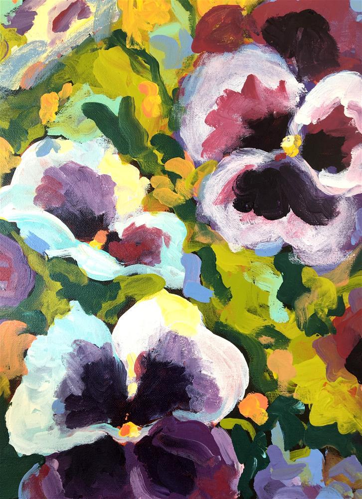 """""""Pansies and Mums"""" original fine art by Susan Elizabeth Jones"""