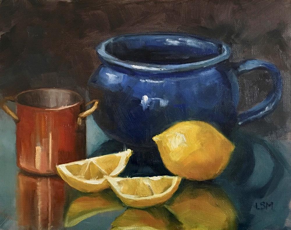 """Blue Soup Mug, Copper Cup and Lemons"" original fine art by Linda Marino"