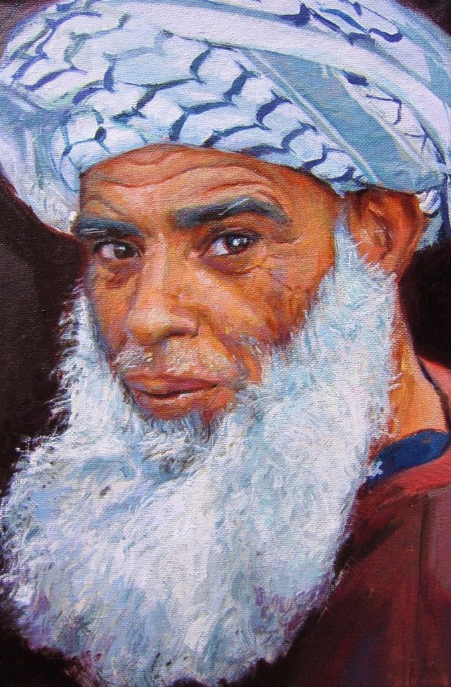 """Arab with turban"" original fine art by Víctor Tristante"