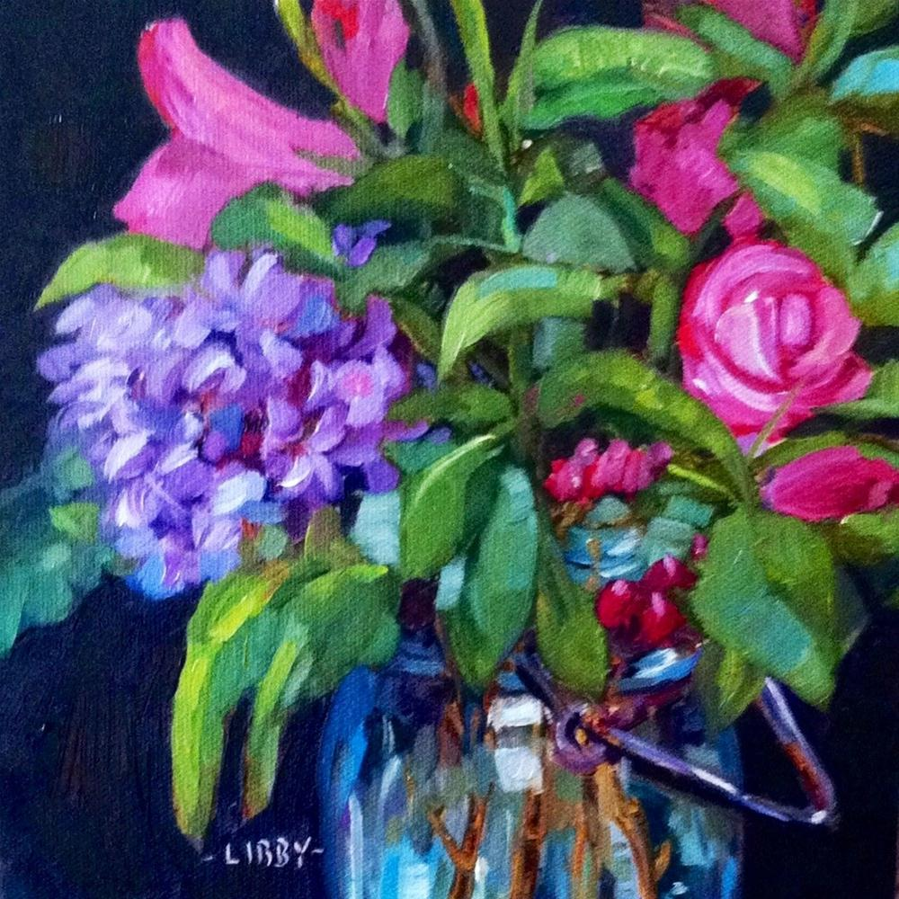 """Blue glass and lilac"" original fine art by Libby Anderson"