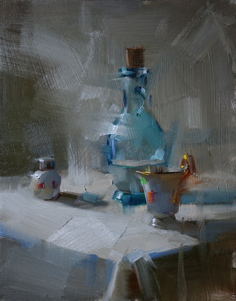 """Shower in Cool Light"" original fine art by Qiang Huang"