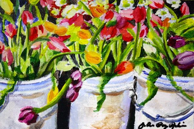 """Tulip Buckets"" original fine art by JoAnne Perez Robinson"
