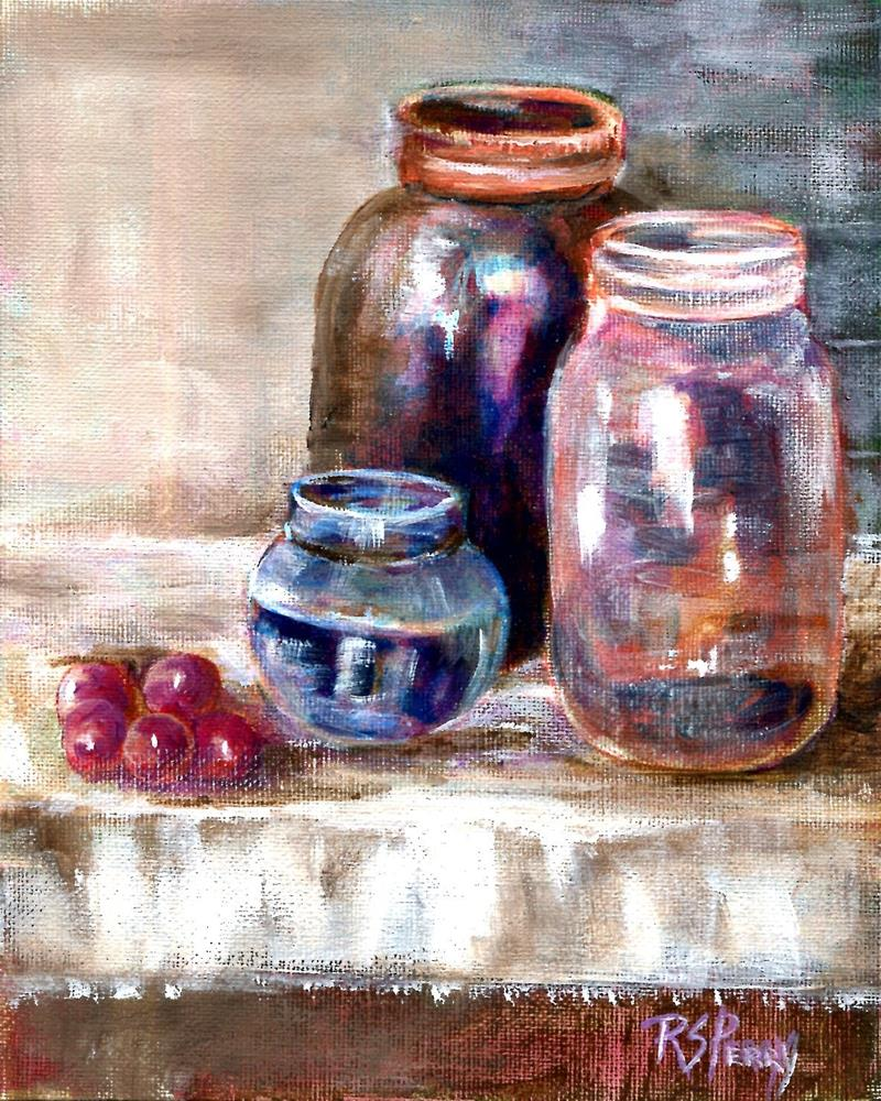 """""""Five Grapes and Three Jars"""" original fine art by R. S. Perry"""