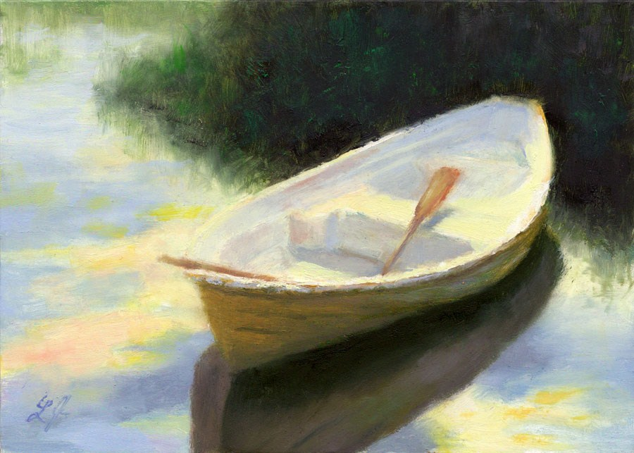 """Row Boat at Sunset"" original fine art by Linda Jacobus"