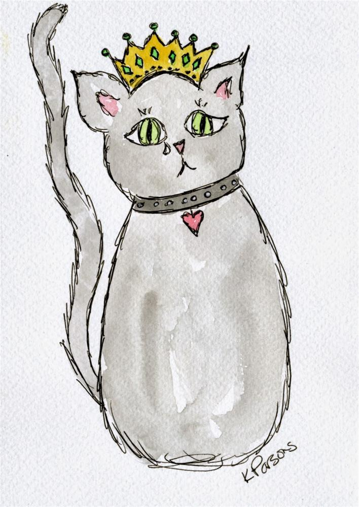 """King Cat Cries"" original fine art by Kali Parsons"