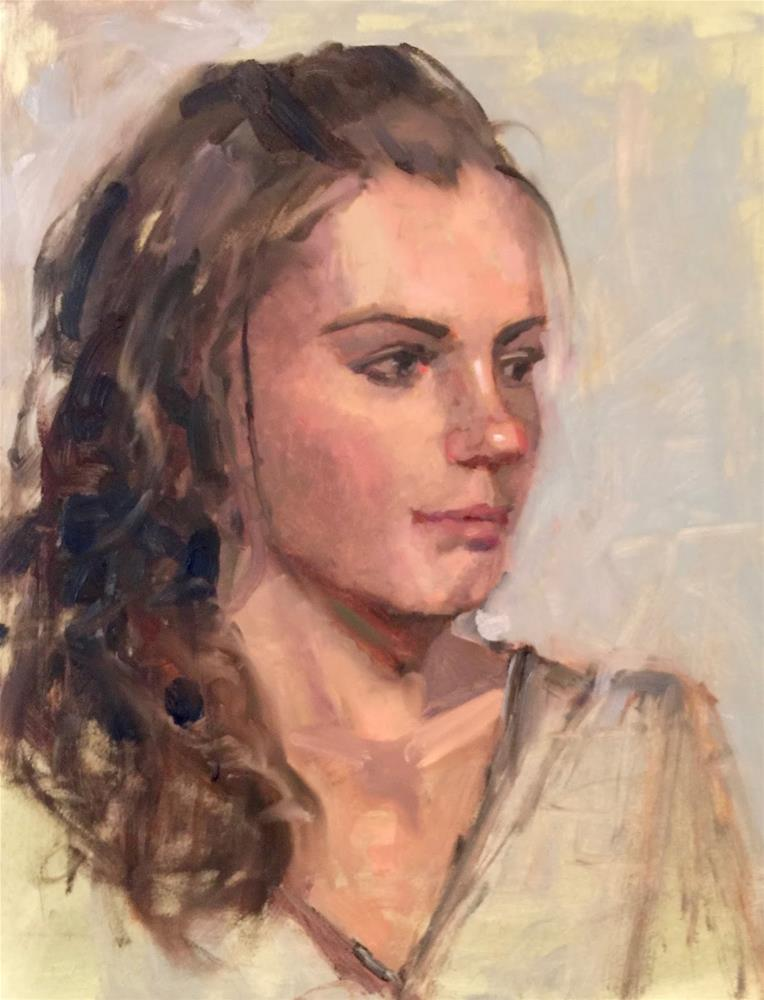 """""""Michelle,  11x14  oil on gesso board"""" original fine art by Ann Feldman"""