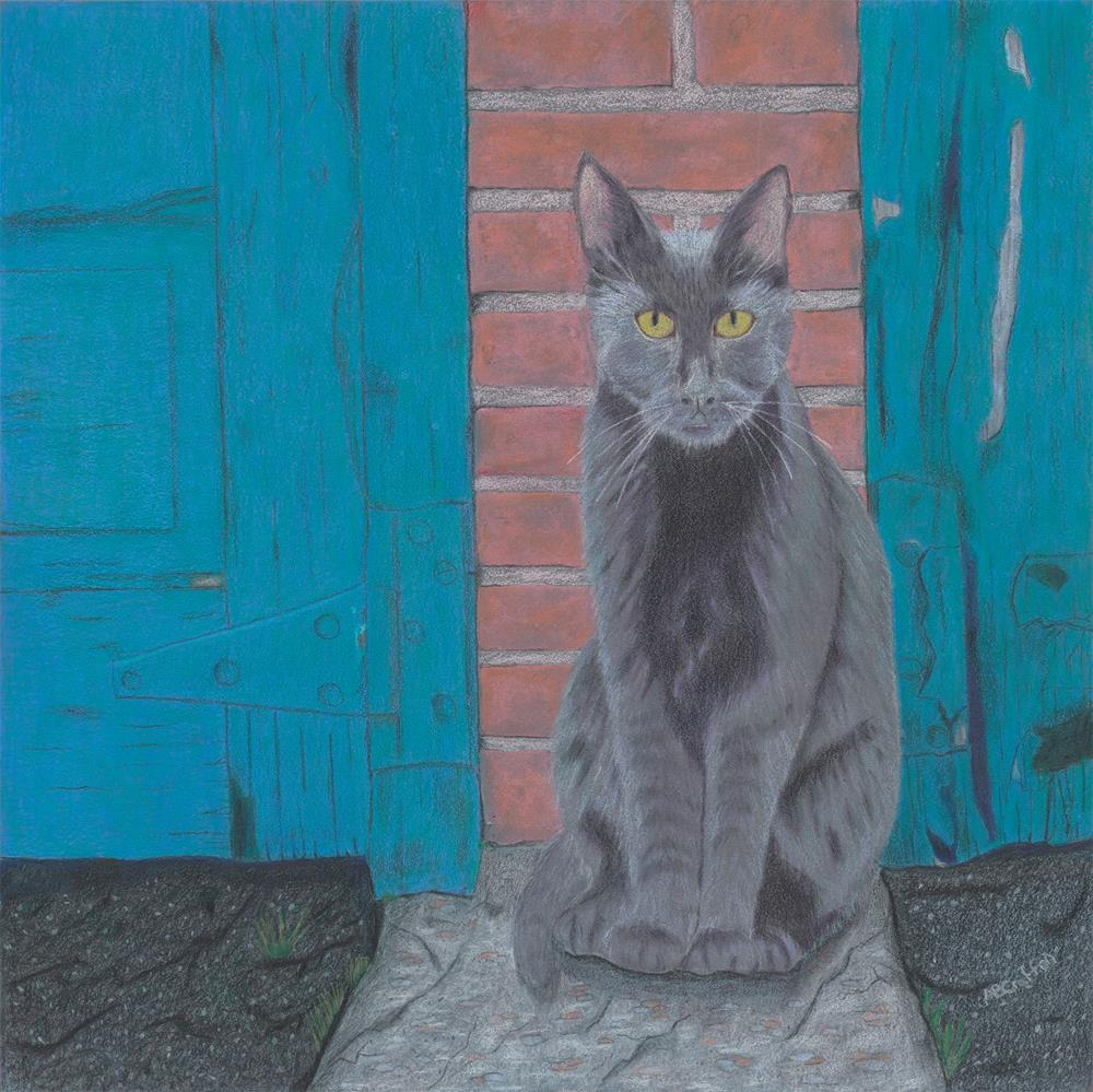 """Alley Cat (matted and framed)"" original fine art by Arlene Crafton"