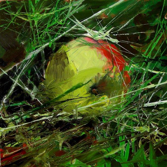 """""""Fallen apple   oil sketch"""" original fine art by Robin Weiss"""