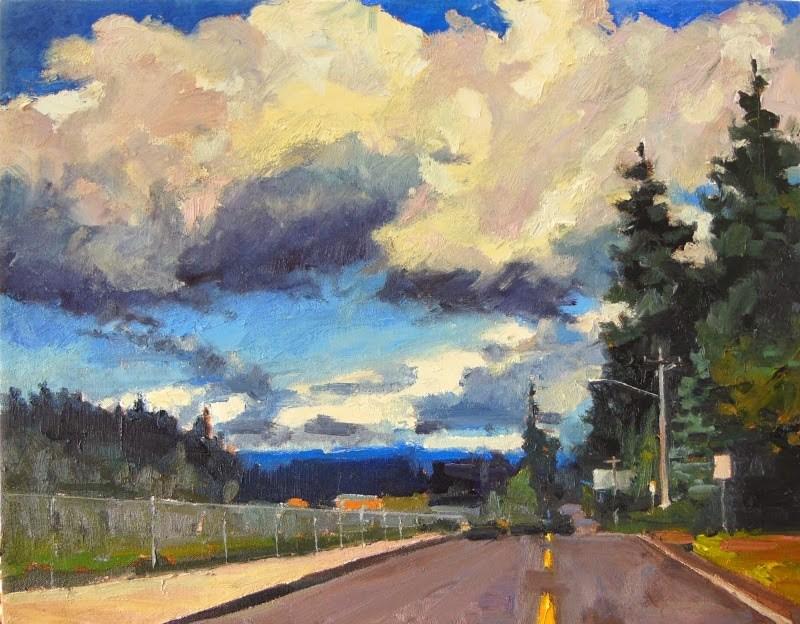"""Clouds over Caldart Landscape oil painting by Robin Weiss"" original fine art by Robin Weiss"