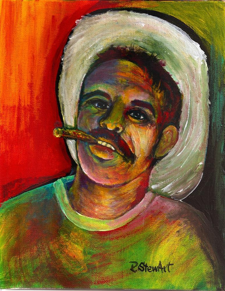 """""""8x10 Acrylic Colorful Cuban Farmer Straw Hat Cigar SFA by Penny StewArt"""" original fine art by Penny Lee StewArt"""