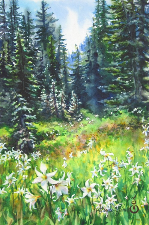"""Alpine Meadow"" original fine art by Catherine M. James"