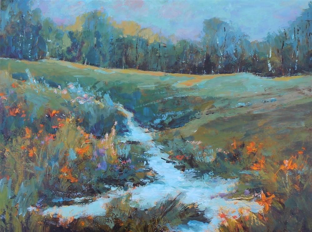 """Wildflower day lily stream creek meadow painting"" original fine art by Alice Harpel"