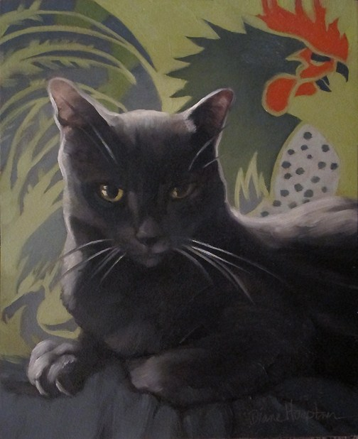 """""""Coco Suave painting of gray cat w rooster"""" original fine art by Diane Hoeptner"""