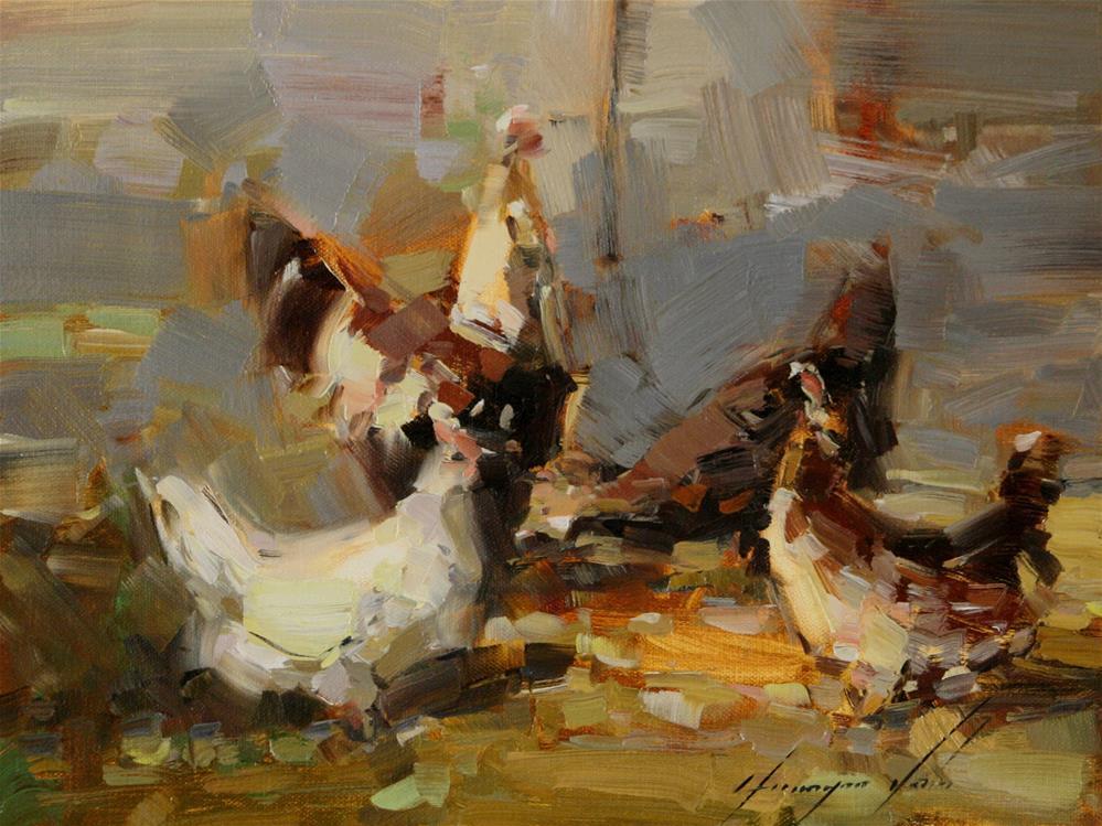 """HENS FARM ORIGINAL OIL PAINTING HANDMADE ART ONE OF A KIND IMPRESSIONISM"" original fine art by V Y"