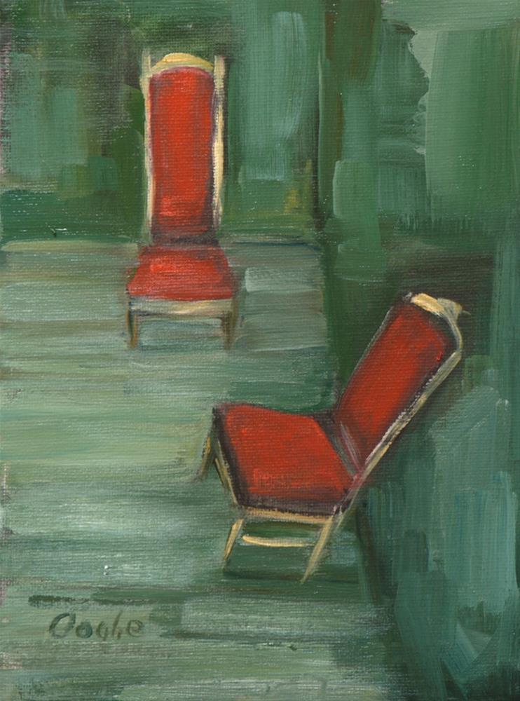 """Red Velvet Chairs"" original fine art by Angela Ooghe"