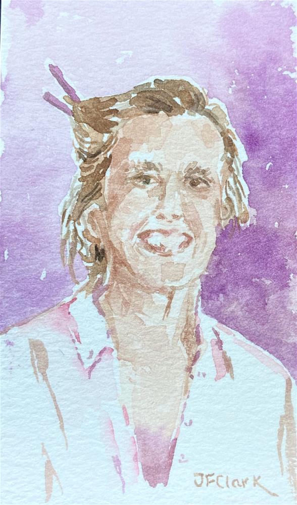 """Woman with her Hair Up"" original fine art by Judith Freeman Clark"