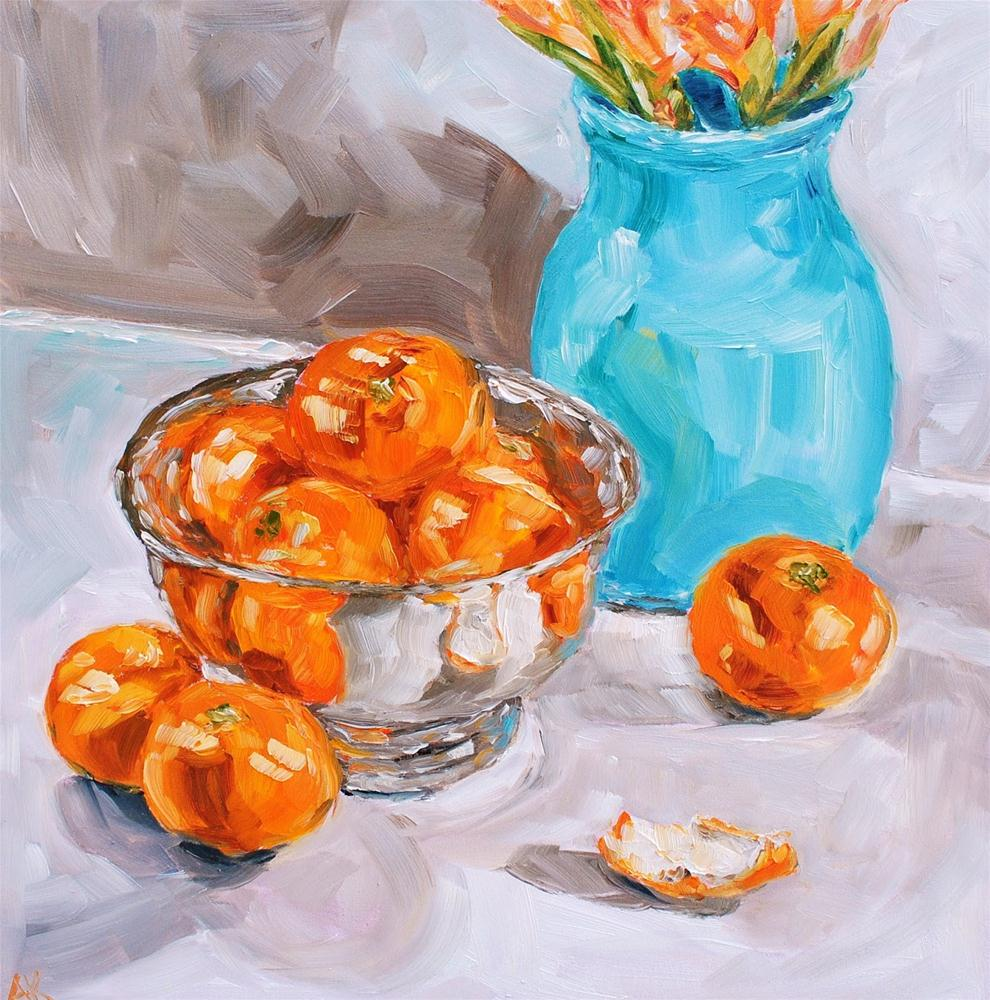 """Clementines and the Blue Vase"" original fine art by Alison Kolkebeck"