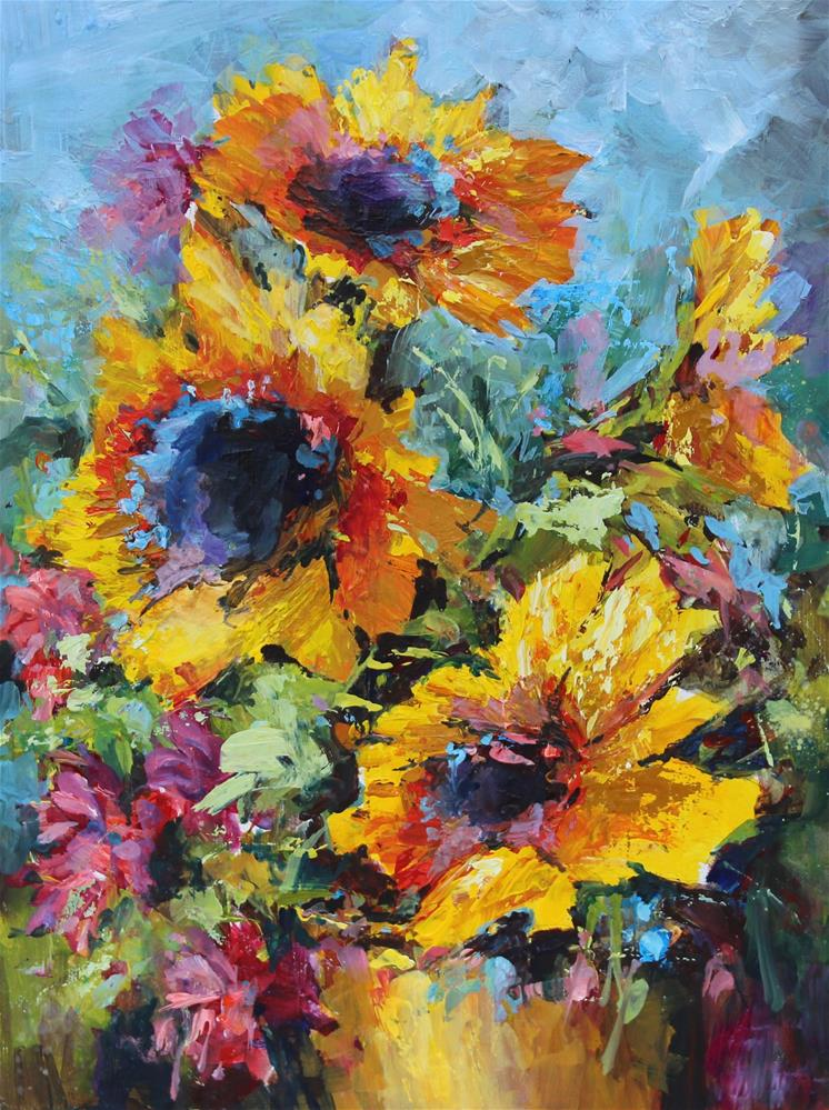 """Sunflower bouquet flowers still life oil painting"" original fine art by Alice Harpel"
