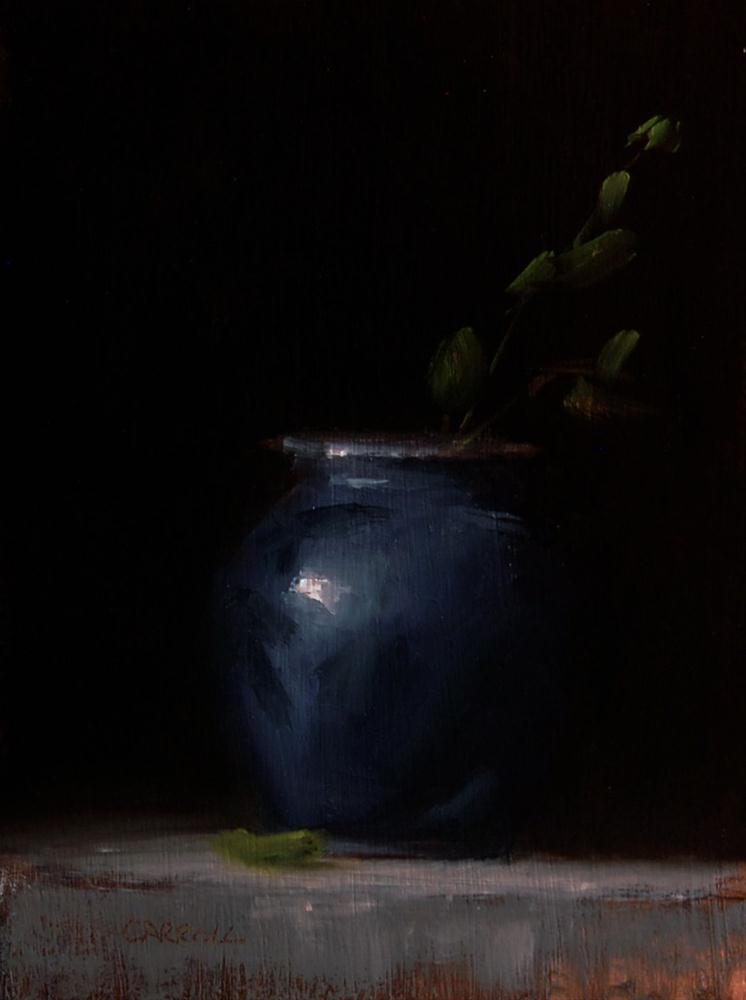 """Blue Pot with Leaves"" original fine art by Neil Carroll"