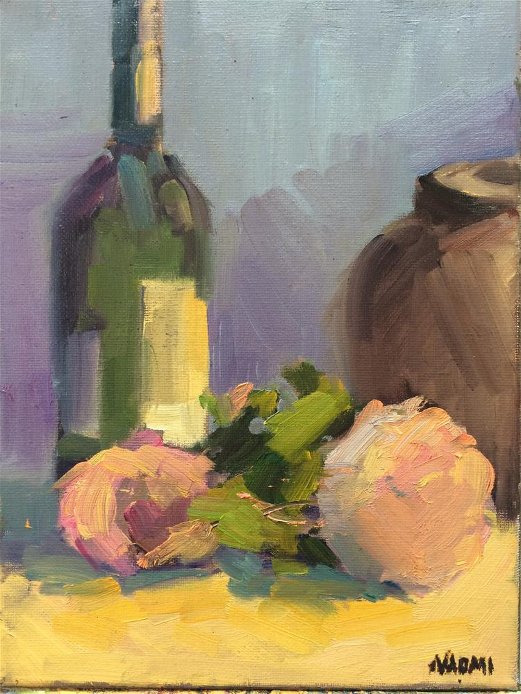 """Wine Bottle and flowers"" original fine art by Naomi Bautista"