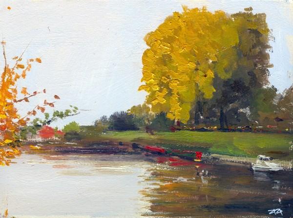 """""""Evening Light, The Canal, Bath"""" original fine art by Adebanji Alade"""