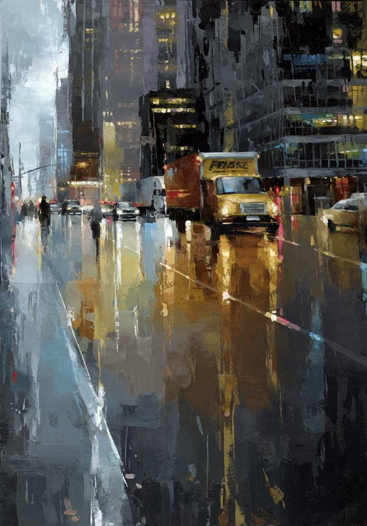 """""""NYC - Moving Truck"""" original fine art by Victor Bauer"""