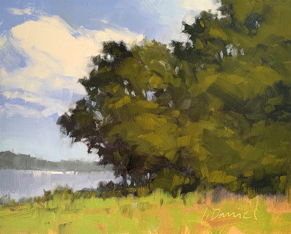 """""""Lakeside Sparkle - Zoom Class Demo 2"""" original fine art by Laurel Daniel"""