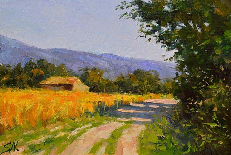 """Stone farmhouse, French countryside, landscape oil painting"" original fine art by Nick Sarazan"
