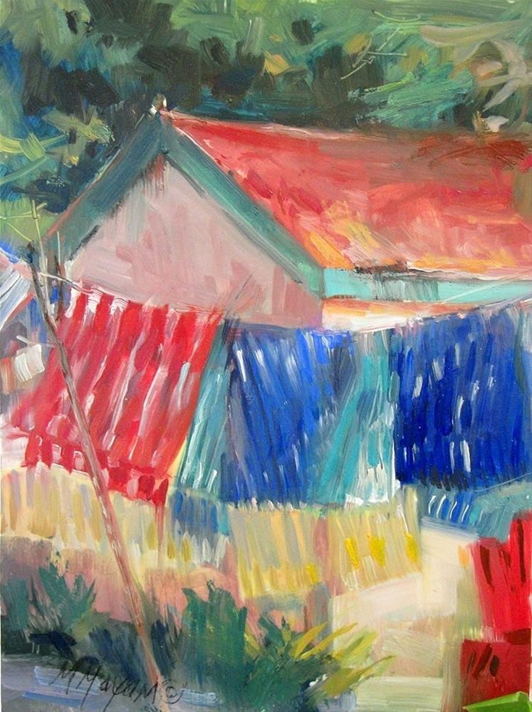 """Beach Towels"" original fine art by Mary Maxam"
