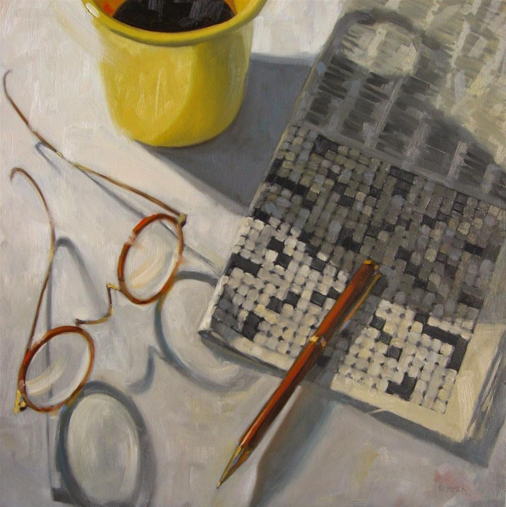 """Working a crossword in ink  18 x 18  oil"" original fine art by Claudia Hammer"