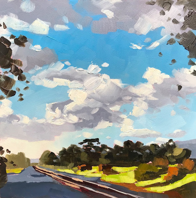"""Carpinteria Tracks and Clouds - 6x6"" original fine art by Sharon Schock"