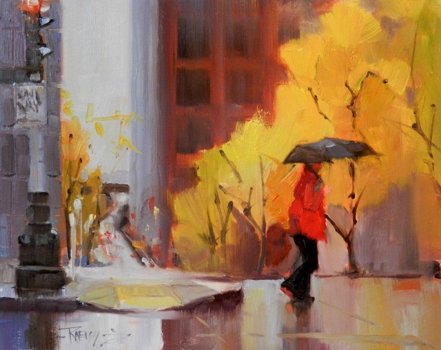 """Fall Rain Seattle city oil painting by Robin Weiss"" original fine art by Robin Weiss"