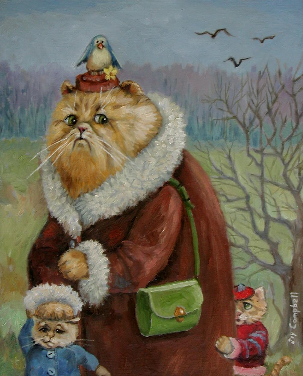 """Mama Cat"" original fine art by Joy Campbell"