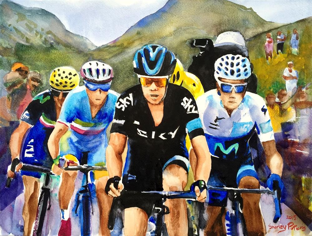 """""""Porte, Quintana, Froome and Nibali."""" original fine art by Shirley Peters"""