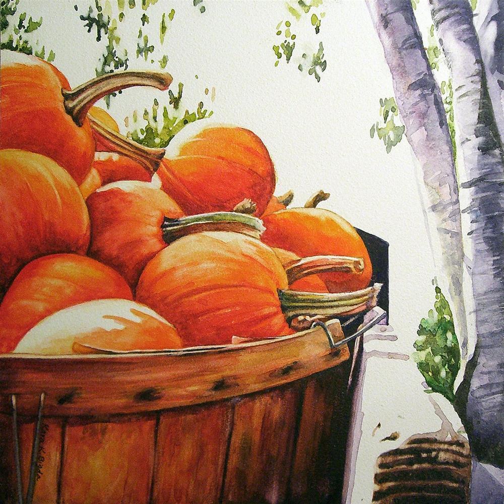 """Bucket O' Pumpkins"" original fine art by Kara K. Bigda"