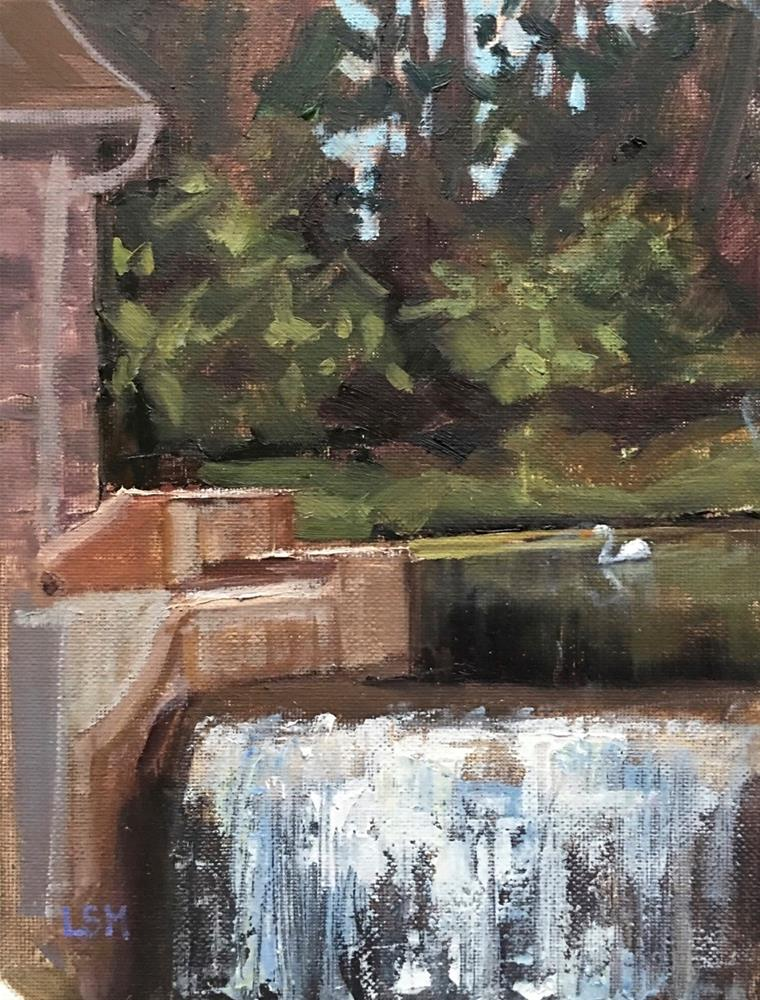 """Swan and the Waterfall"" original fine art by Linda Marino"