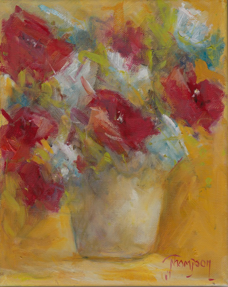 """""""Bucket of Red Flowers"""" original fine art by Norma Thompson"""