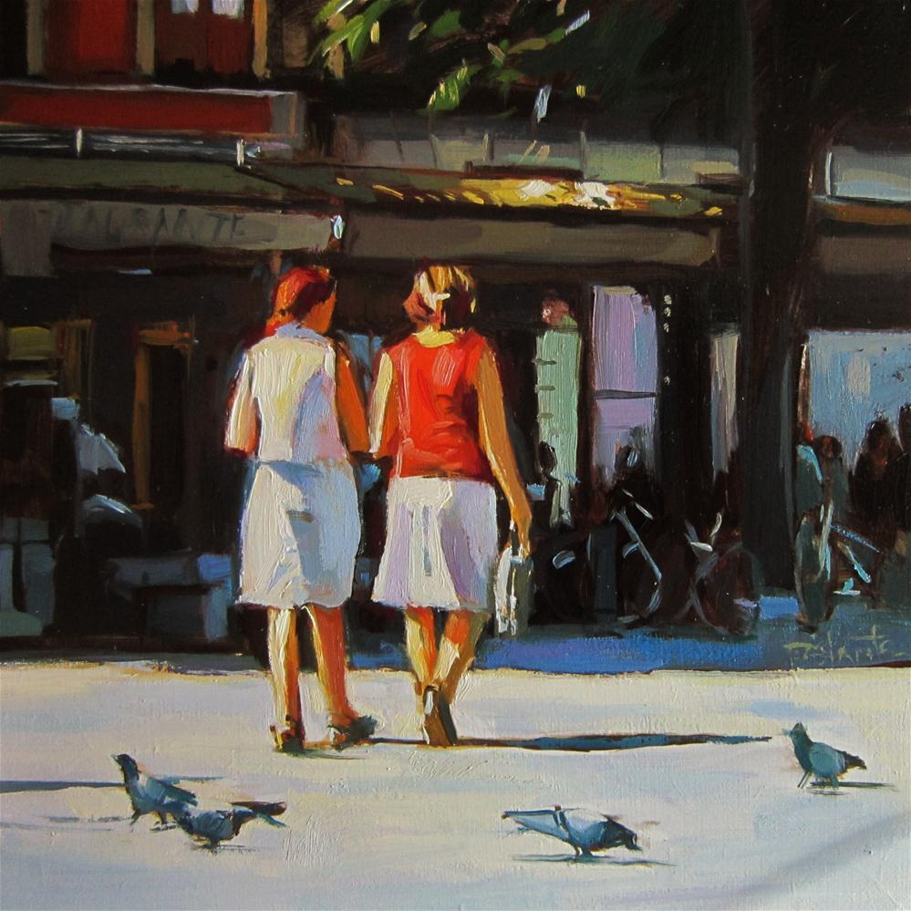 """""""Lighted walkers"""" original fine art by Víctor Tristante"""