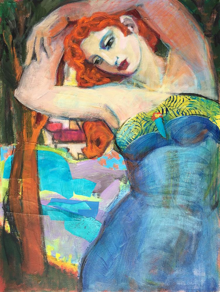 """""""Spring Emerges, figurative woman nymph. lake, village, woods, early Spring, contemporary figure pain"""" original fine art by Marie Fox"""