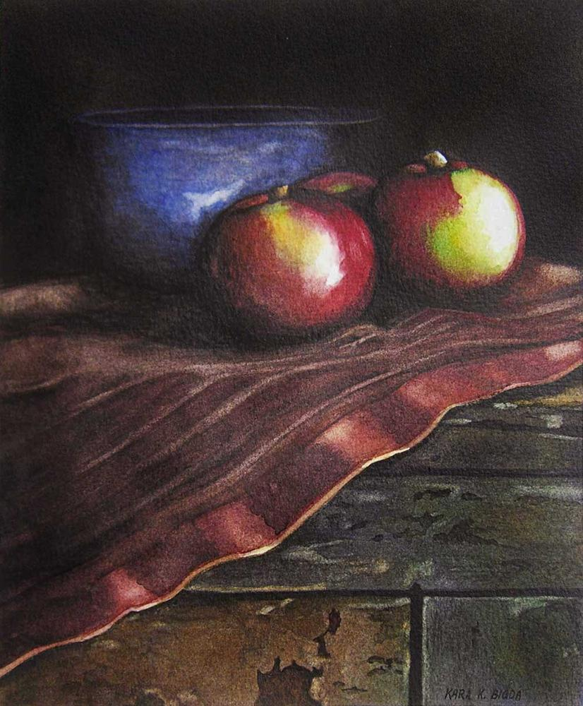 """Blue Bowl with Apples"" original fine art by Kara K. Bigda"