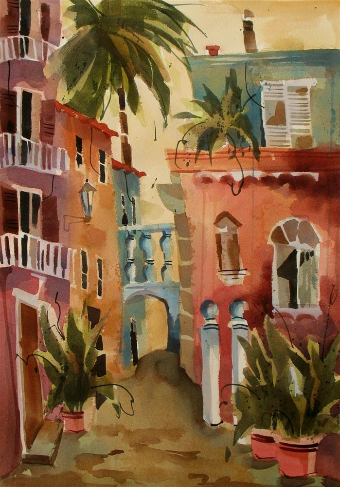 """Quiet Street in Ravello, Italy"" original fine art by Jinnie May"