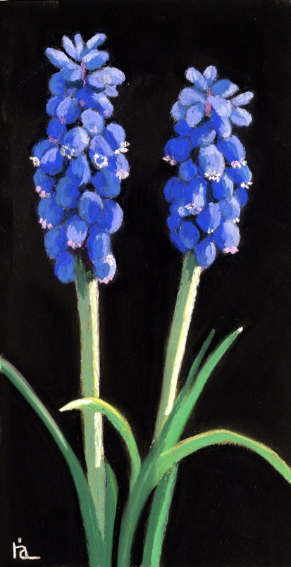 """blue bell flowers painting"" original fine art by Ria Hills"